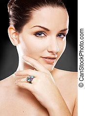 Beautiful woman wearing ring