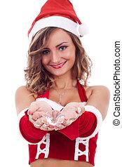 woman wearing santa claus hat