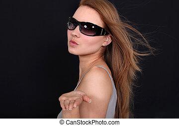 beautiful woman wearing sunglasses