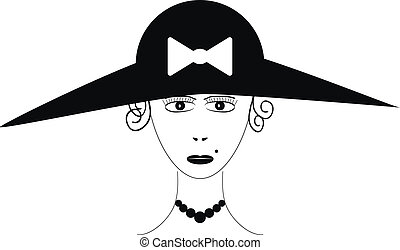 Beautiful woman wearing vintage hat
