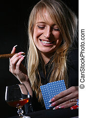 beautiful woman who smoke cigar