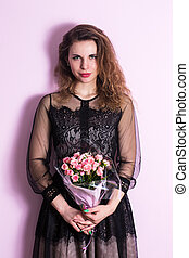 Beautiful woman with a bouquet