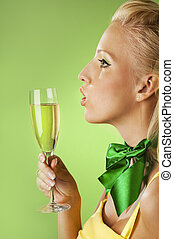 Beautiful woman with a glass of champagne