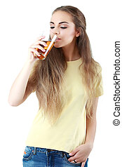 Beautiful woman with a glass of juice, isolated on white