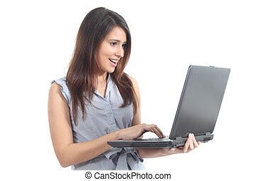 Beautiful woman with a laptop - Beautiful woman standing...