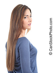 Beautiful woman with a long hair