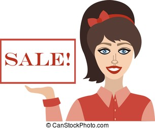 Beautiful woman with a poster on a white background inscription sale