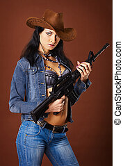 Beautiful woman with a rifle