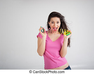 woman with a toy rainbow