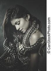 beautiful woman with an Australian python