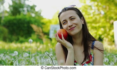 Beautiful Woman With Apple