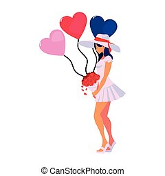 beautiful woman with balloons hearts