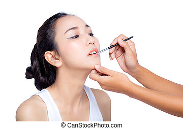 Beautiful Woman With Beauty Face, Sexy Full Lips Applying Lip Balm, Lipcare Stick On. Portrait Of Female Model With Natural Makeup. Lips Skin Care Cosmetics Concept. High Resolution