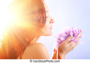 woman with big flower
