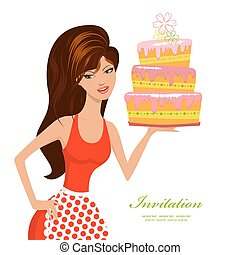 beautiful woman with birthday cake for your design