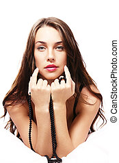 beautiful woman with black chain on white background