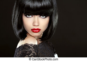 Beautiful Woman With Black Short Hair. Haircut. Hairstyle....