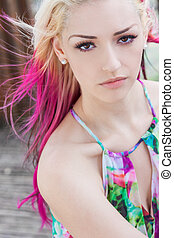 Beautiful Woman With Blond and Magenta Pink Hair