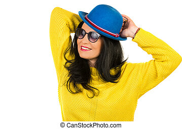 Beautiful woman with blue hat