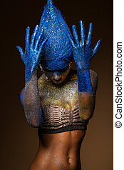 Beautiful woman with bodyart - Portrait of a woman who is...