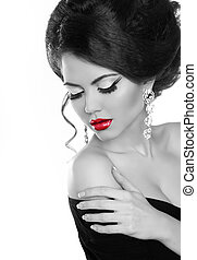 Beautiful woman with bright make-up. Jewelry and Beauty. Fashion girl. Black and white photo