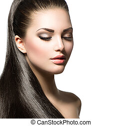 Beautiful woman with brown long healthy smooth hair