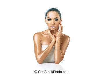 beautiful woman with brown shiny skin - Young beautiful...