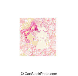 beautiful woman with carnival mask, abstract floral portrait