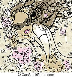Beautiful Woman with carnival mask.
