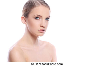 Beautiful woman with clean face over white background