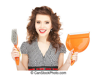 beautiful woman with cleaning sweep - picture of beautiful...