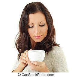Beautiful woman with coffee or tea