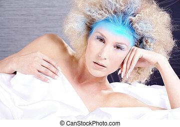 beautiful woman with cool makeup