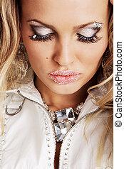 Beautiful woman with creative makeup