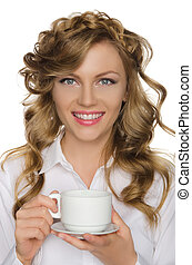 Beautiful woman with cup in her hand
