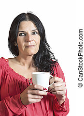 Beautiful woman with cup of coffee or tea.