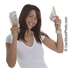 Beautiful woman with currency