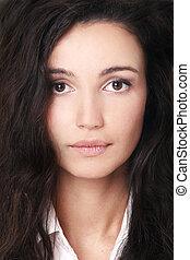 Beautiful woman with dark hair, fine art portrait