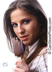 beautiful woman with dessert ice cream