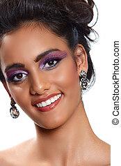 beautiful woman with earrings.