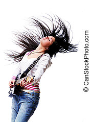 Beautiful woman with electro guitar isolated over white...