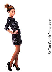 beautiful woman with elegant black dress, on white, studio shot