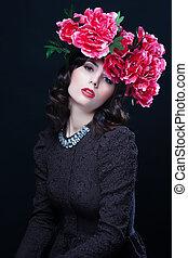 Beautiful woman with evening make-u