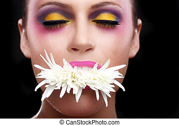 Woman With Extreme Spattered Make Up on the Face