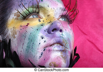 Extreme Spattered Make Up on the Face
