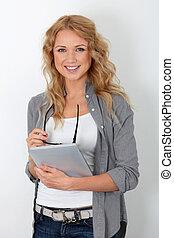 Beautiful woman with eyewear using electronic tablet