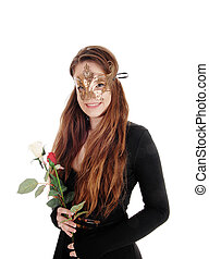 Beautiful woman with face mask and roses