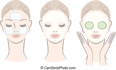 Set of elegant, beautiful woman with facial mask. Clay mask, Cotton pad mask, Cucumber slice mask. Isolated on white.