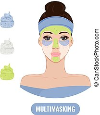 Beautiful woman with facial mask care.