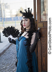 beautiful woman with feather dusters